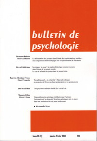 Couverture du Bulletin de psychologie N 71_2 2018